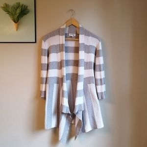 ✨2/$25 St. John's Bay striped flowy drape cardigan